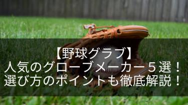 【野球グラブ】人気のグローブメーカー5選!選び方のポイントも徹底解説!